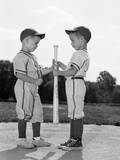 1960s Two Boys in Baseball Uniforms Choosing Sides