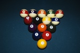 Billiard Balls Racked Up on Pool Table