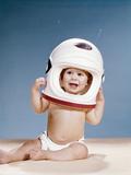 1960s Baby Wearing Styrofoam Astronaut Helmet