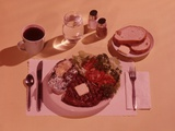 1950s Dinner Place Setting Steak with Pat of Butter Potato Baked in Aluminum Foil and Salad Entree
