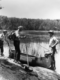 1930s Three Fishermen Standing Beside Canoe Holding Fishing Gear