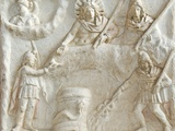 Roman Relief of Mithras  Selene  Cautes and Cautopates