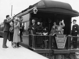 1930s Family with Grandparents and Conductor on Broadway Limited Observation Car Train Platform