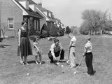 1950s Family Mother Father 3 Children Playing Croquet Front Lawn Suburban Home