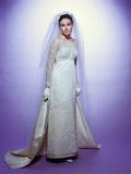1960s Young Woman Bride Portrait Bridal Veil Empire Waist Gown Lace Bodice Hem Full Length