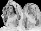 1950s-1960s Double Exposure Portraits of Bride Veiled and Unveiled Smiling and Worried