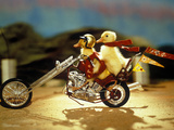 1990s Two Baby Ducklings Riding on Chopper Style Motorcycle