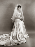 1950s Full Length Portrait Bride Standing Wearing Satin and Lace Wedding Gown Veil and Tiara