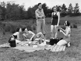 1930s Group of Five Young Men and Women Enjoying Picnic in Woods All But One Wearing Swimsuits