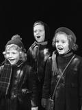 1940s Three Children Singing Caroling