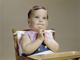 1960s Baby Hands Together at Chin Thinking Thoughtful Facial Expression