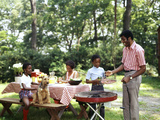 African American Family Backyard Picnic Barbecue