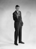 1960s Man in Business Suit Standing Pointing Finger
