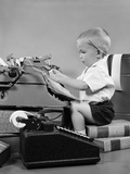 1950s Child Typing Sitting at Typewriter