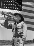 1940s Boy Scout Playing Bugle in Front of 48 Star American Flag