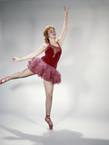 1960s Awkward Teen Girl Red Velvet Costume Pink Net Tutu Attempting Arabesque En Pointe