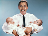 1960s Smiling Man Father Holding Twin Babies Infants