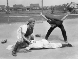 1950s Little League Umpire Calling Safe Player Sliding into Home Plate