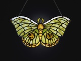 Tiffany Studios Butterfly Leaded Glass Lamp Pendant with Iridescent Favrile Glass