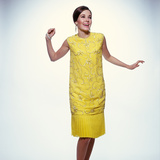 1960s Smiling Brunette Woman Modeling Yellow Sequined Cocktail Dress Clothes