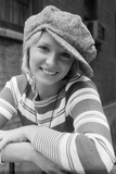 1970s Portrait Female in Floppy Wool Cap and Striped Knit Top