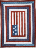 A Pieced Cotton Coverlet with American Flag Design