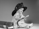 1960s Baby Fireman with Safety Hat Coat and Fire Extinguisher
