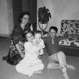 Mother with Son and Daughter in Living Room  Ca 1960