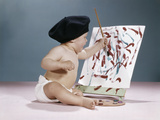 1960s Baby Artist Wearing Black Beret Sitting in Front of Easel Painting