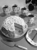 1950s Dessert Vanilla Layer Cake and Coffee