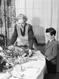 1950s Grandmother Grandson Turkey Thanksgiving Dinner