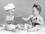 1960s Baby Doctor and Nurse with Chart and Stethoscope