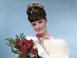 1960s Teenage Beauty Queen Holding Red Roses Wearing Fur Stole and Tiara