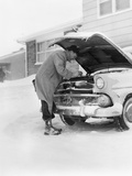 1950s Man Winter Driveway Trying to Start Fix Car Hood Up