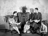1930s-1940s Family of Five Listening to the Radio