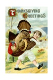 Thanksgiving Greetings Postcard with a Boy Carrying a Turkey