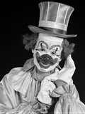 1950s Portrait of Clown Wearing Top Hat Smiling