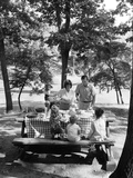 1960s-1970s Family of Five at Table in Park under Trees Having Picnic