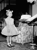 A Four Year Old Girl Looks on as Her Mother Presents the Birthday Cake  Ca 1957