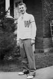 High School Boy Wearing His Varsity Sweater  Ca 1945