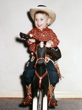 Little Boy Cowboy Plays Guitar While Riding His Horse  Ca 1956