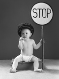 1940s Baby Boy Holding Stop Sign Traffic Whistle