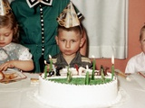 Grumpy Boy at Fifth Birthday Party  Ca 1957