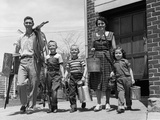1950s Family Mother Father 3 Children Happy Smiling Carrying Gardening Home Improvement Tools