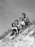 1930s Group Young Men Women Posed on Beach Sand Dune
