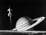 1960s Space Rocket Flying Past Saturn with Surface of Another Planet in Foreground