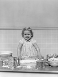 1940s Blond Girl Baking Playing Rolling Pin Flour Dough