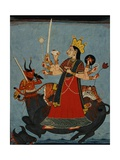 Mandi School Painting of Durga Slays Mahishasura