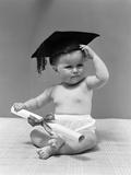 1940s Baby Wearing Mortar Board Graduation Cap and Holding Diploma
