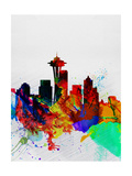 Seattle Watercolor Skyline 2
